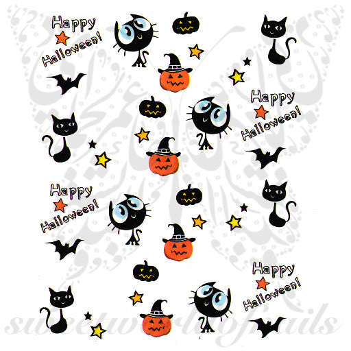 Halloween Nails Cute Cat Pumpkin Nail water decals
