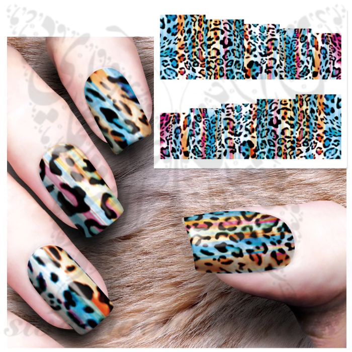 Colorful Leopard Print Nail water decals