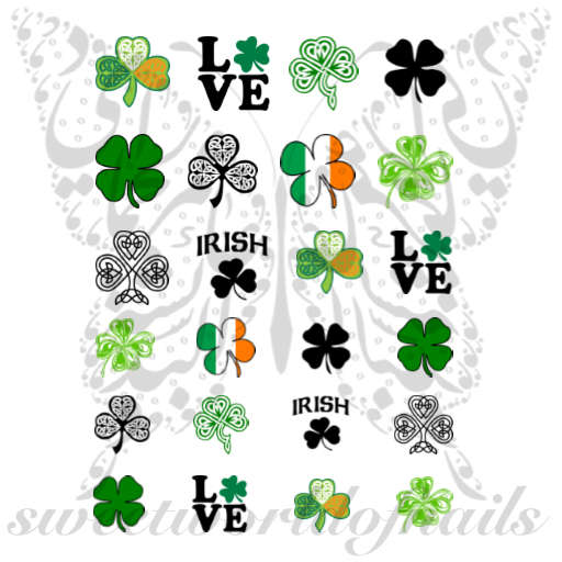 Saint Patrick's Day Nail Art Clover Shamrock collection Water Decals