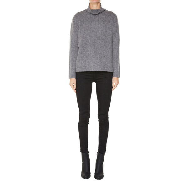 Cashmere Frankie Relaxed Turtleneck in Charcoal Marle Grey - sonyahopkins.com