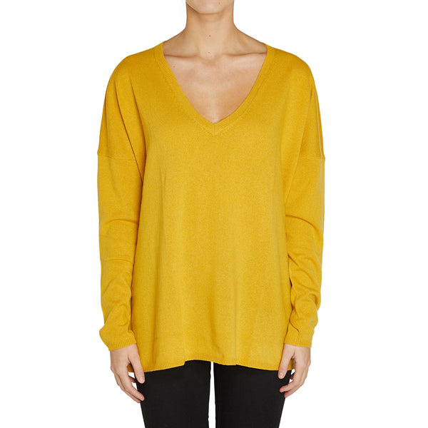 Sonya Hopkins pure cashmere oversized Zoe V-neck in harvest yellow