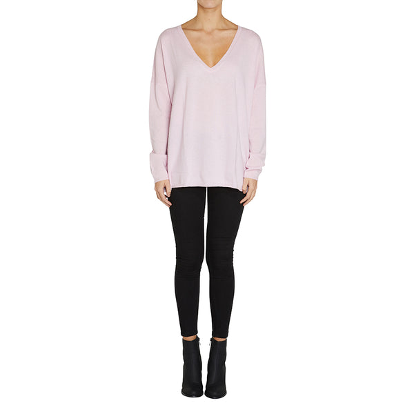 Sonya Hopkins pure cashmere oversized v-neck in blossom pink