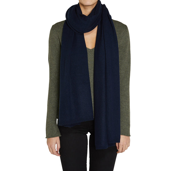 Sonya Hopkins pure cashmere wrap in ink or French navy
