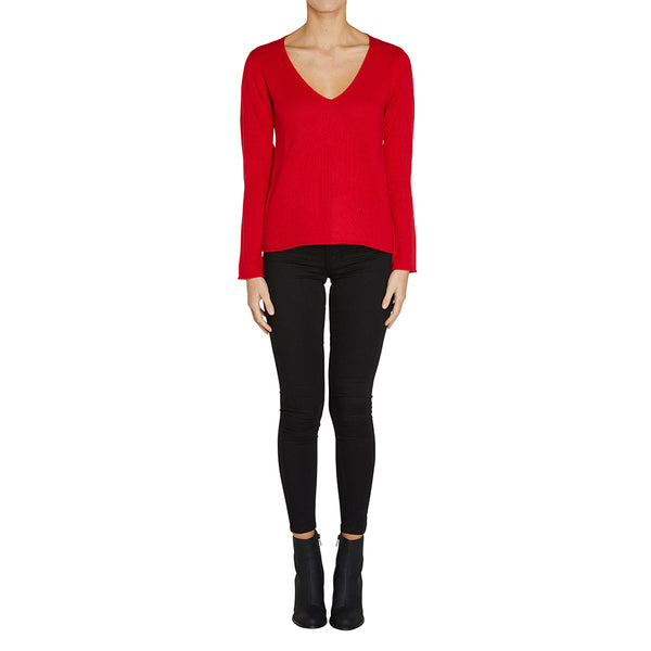 Sonya Hopkins pure cashmere classic relaxed v-neck in red