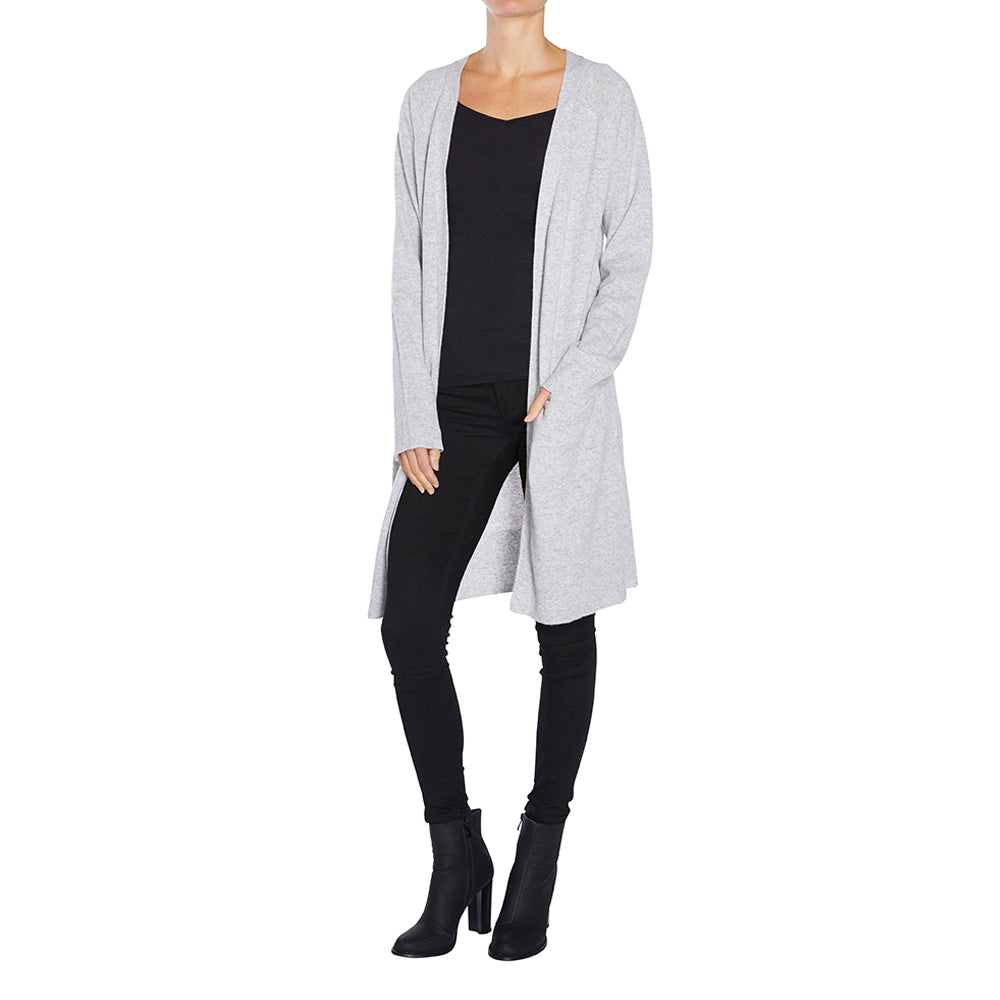 Sonya Hopkins pure cashmere long line cardigan with pockets in pale marle grey