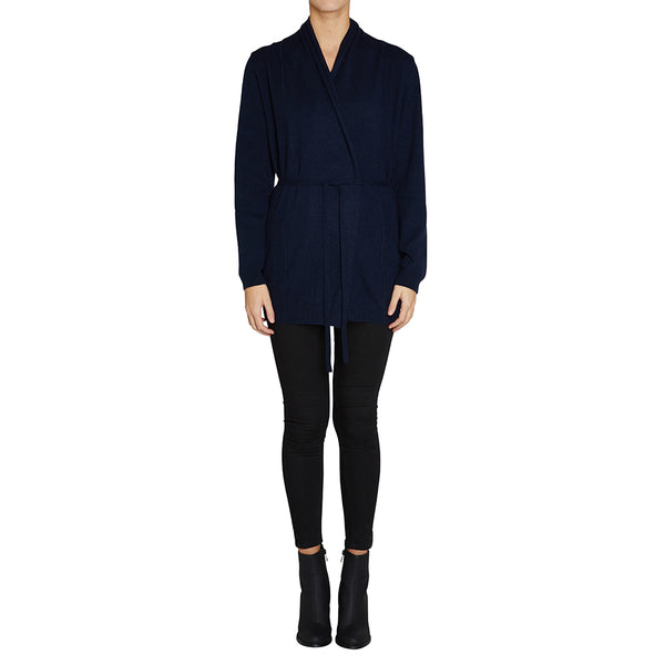 Sonya Hopkins pure cashmere long line cardigan in ink or French navy