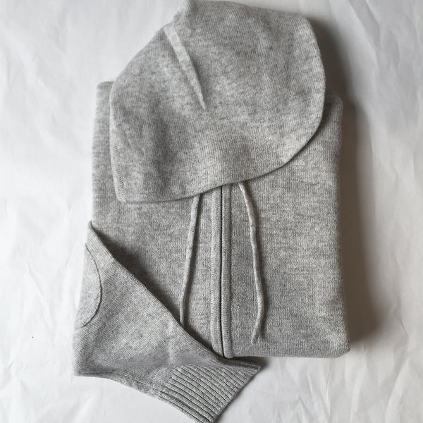 Cashmere Kids Hoody in Pale Marle Grey - sonyahopkins.com
