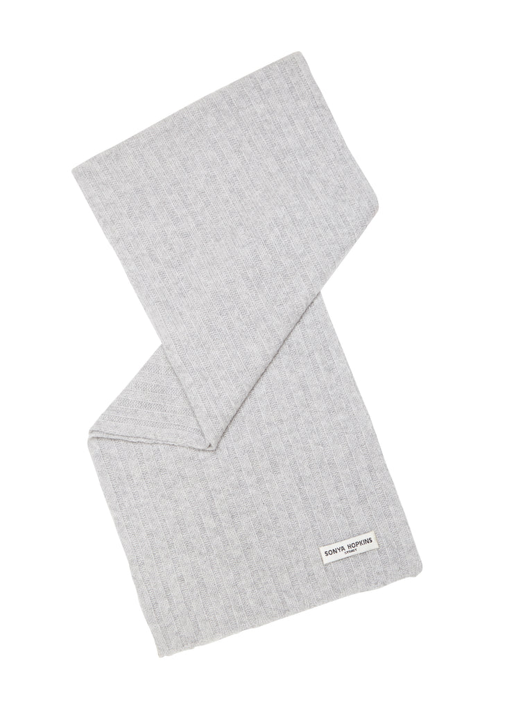Sonya Hopkins pure cashmere rib scarf in pale marle grey