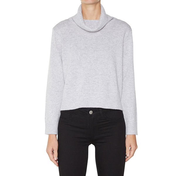 Sonya Hopkins pure cashmere crop loose turtleneck knit in pale marle grey
