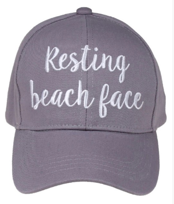 Resting Beach Face Embroidered Hat