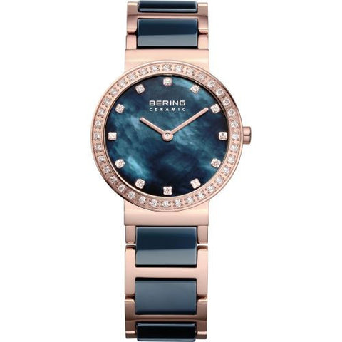 BERING 10729-767 Women's Watch Rose Gold Stainless Steel & Dark Blue Ceramic Band Dark Blue MOP Dial