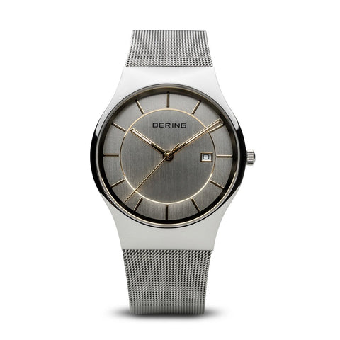 BERING Classic 40mm Polished Silver Milanese Strap Silver Men's Watch 11938-001