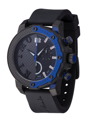 Ritmo Mundo Quantum 3 Blue 50mm Half Carbon Fiber Dial Sports Chrono Men's Watch 1201/2 Blue