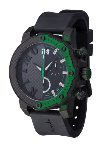 Ritmo Mundo Quantum 3 Green 50mm Half Carbon Fiber Dial Sports Chrono Men's Watch 1201/7 Green