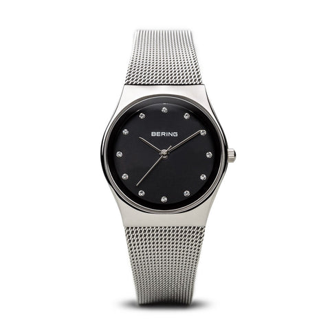 BERING Classic 27mm Polished Silver Milanese Strap Black Women's Watch 12927-002