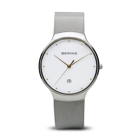 BERING Classic 38mm Polished Silver Milanese Strap White Women's Watch 13338-001
