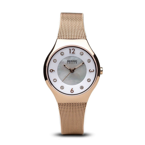 BERING Solar Polished Rose Gold Slim Mesh Rose Gold Band Women's Watch 14427-366