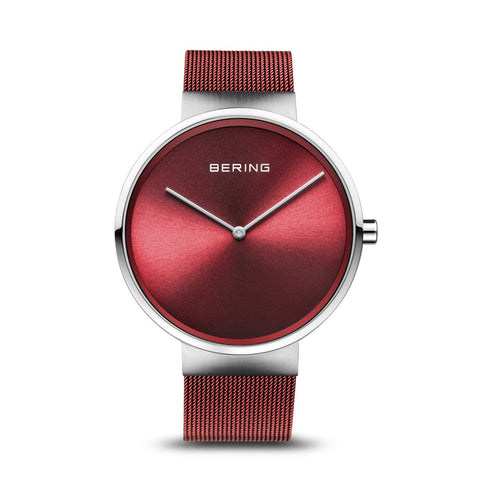 BERING Classic 39mm Polished Silver Milanese Strap Red Men's Watch 14539-303