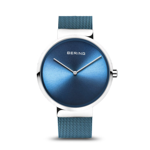 BERING Classic 39mm Polished Silver Milanese Strap Blue Men's Watch 14539-308