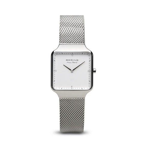 BERING Max Rene 32mm Polished Silver Milanese Strap Silver Men's Watch 15832-004