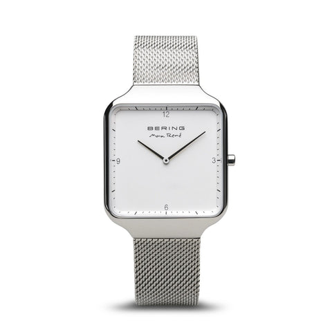 BERING Max Rene 36mm Polished Silver Milanese Strap Silver Men's Watch 15836-004