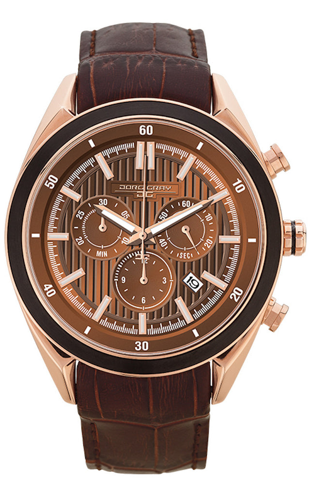 Jorg Gray JG6900-21 Men's Watch Chronograph Brown Dial With Integrated Brown Genuine Leather Strap