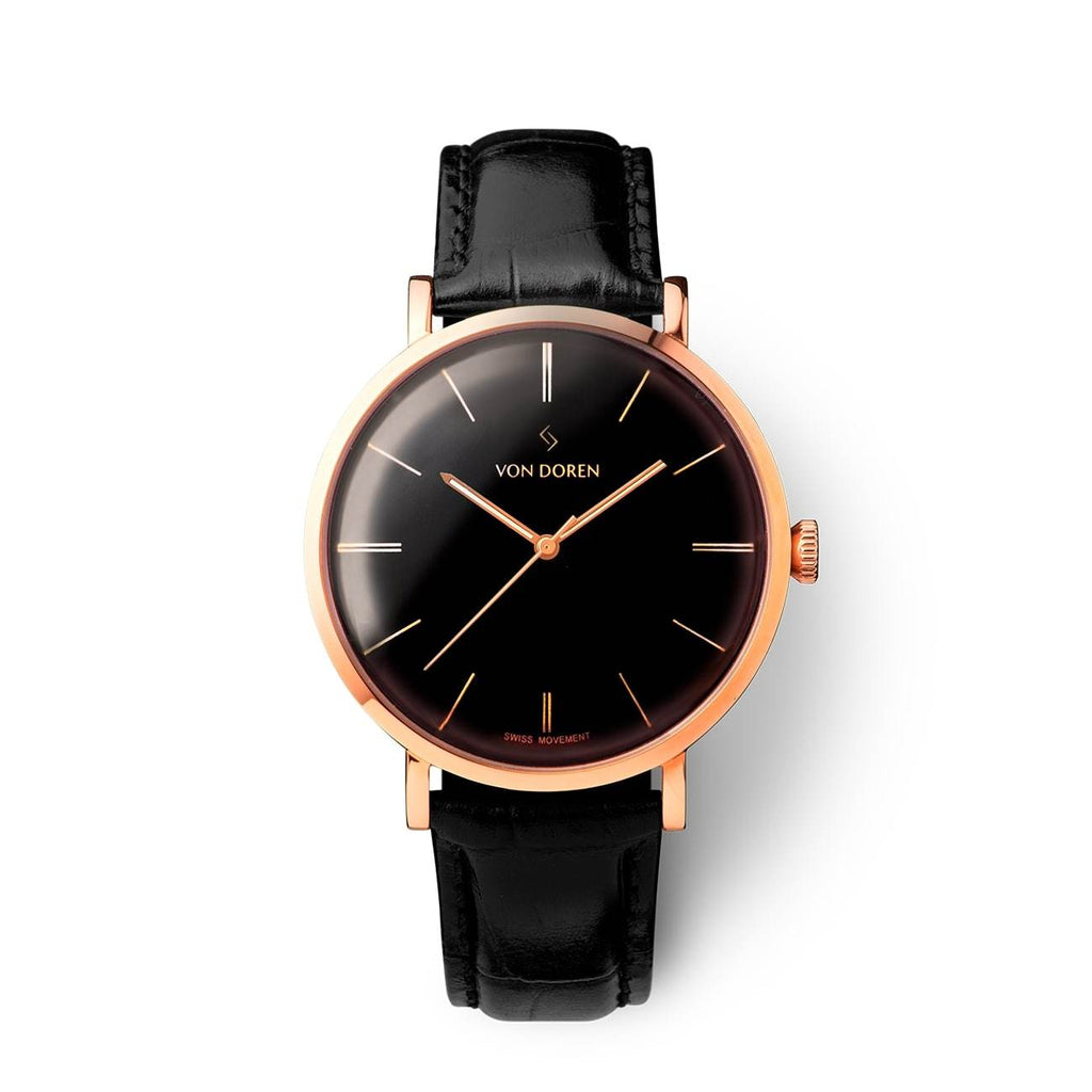 Von Doren Aksla Mark II Pure Black - Rose Gold Classic Dial Men's Watch