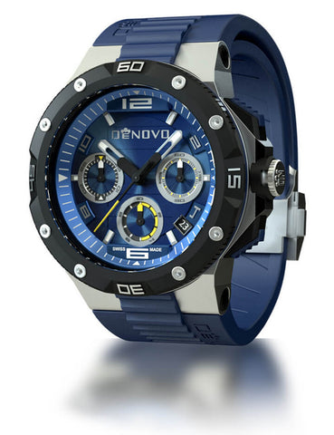 DeNovo DN2020-24BYB Men's Swiss Made Chronograph Watch Blue Rubber Strap Blue Dial