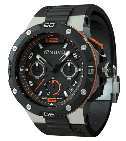 DeNovo DN2020-24NON Men's Watch Chrono Swiss Made Black Dial Orange Accents Black Rubber Strap