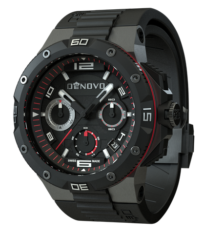 DeNovo DN2020-84NRN Men's Watch Black With Red Accents Swiss Made Chronograph Sporty Rubber Strap