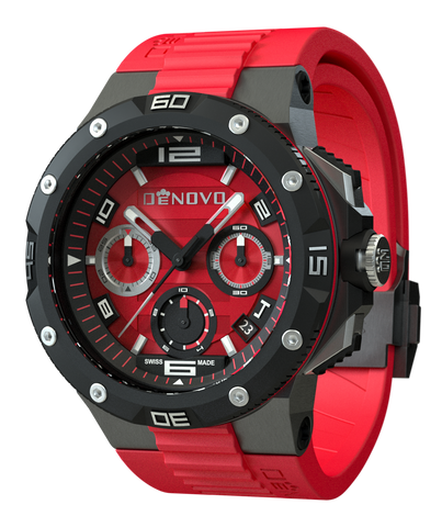 DeNovo DN2020-84RNR Men's Red Swiss Made Watch Chrono Italian Design Red Dial
