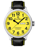 Ernst Benz GC10219 Mens Yellow Dial 47mm Automatic Watch Traditional Classic Handmade Leather Strap