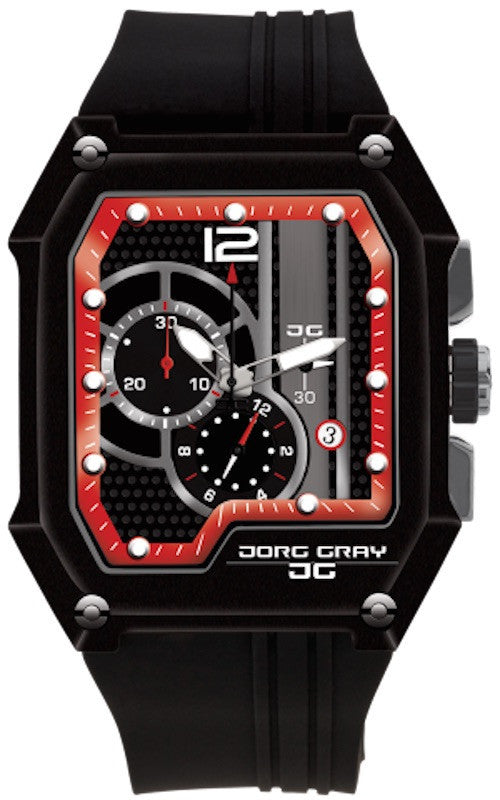 Jorg Gray JG7100-21 Men's Watch Black With Red Dial Chronograph Rectangular Case