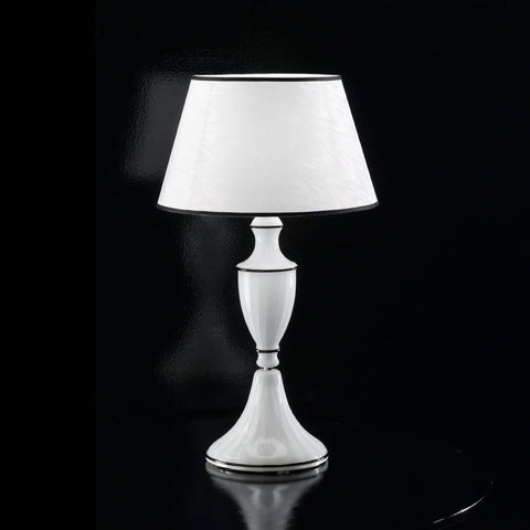 Baroque Table Lamp with White Shade & Black Trimming