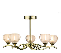 Cynthia Polished Brass 5 Arm Ceiling Light - London Lighting - 1