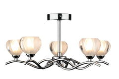 Cynthia Polished Chrome 5 Arm Ceiling Light - London Lighting - 1