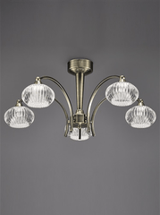Ceiling 5 Light in Antique Brass With Ribbed Glass Shades - ID 5708
