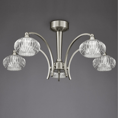 Ceiling 5 Light in Satin Nickel With Ribbed Glass Shades - ID 6036