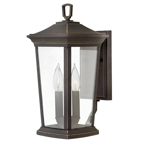 Bromley Two Light Oil Rubbed Bronze Medium Wall Lantern Light