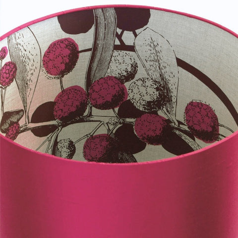 Inside Out Acacia Lampshade - Pink/Plum on Natural Linen with Raspberry Silk