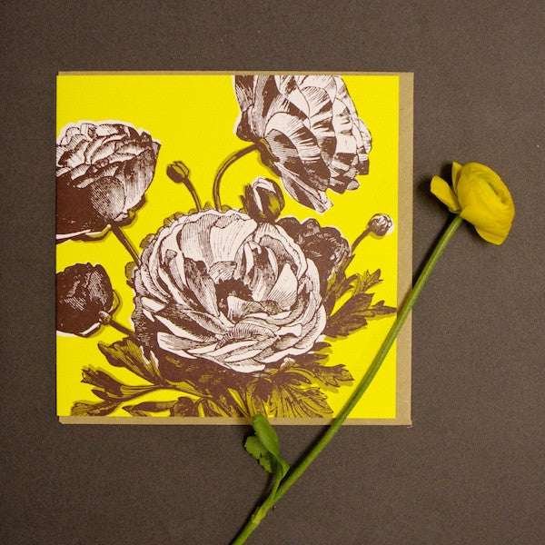 'Ranunculus - Bright Yellow' Greetings Card