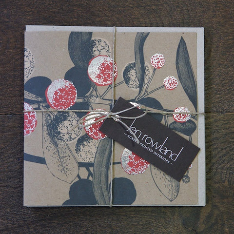 Set of 4 Foiled Acacia Cards - Mixed Colours