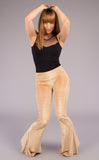 Gold Pin Stripe Velvet Slim Bells - Warrior Within Designs ,Pants