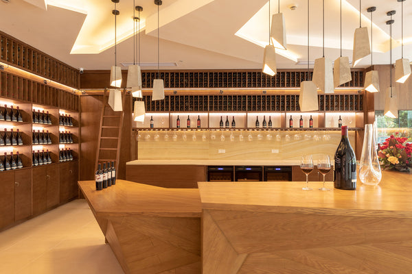 Concrete Odense pendant light installed at Carinya Premium Wines