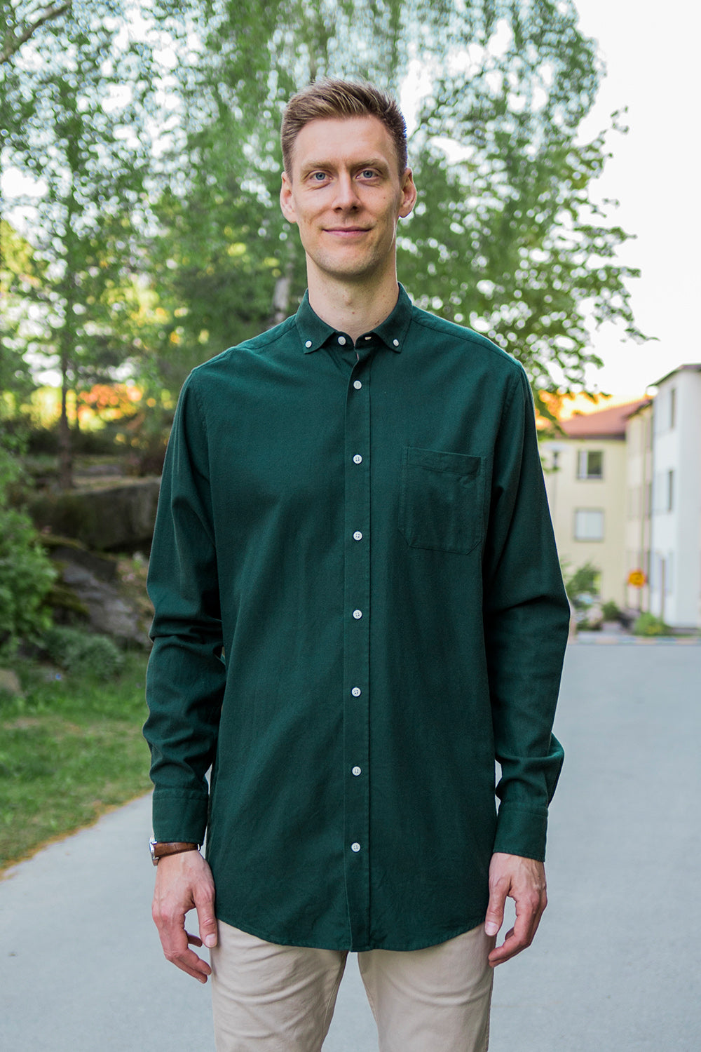Long Green Flannel Shirt