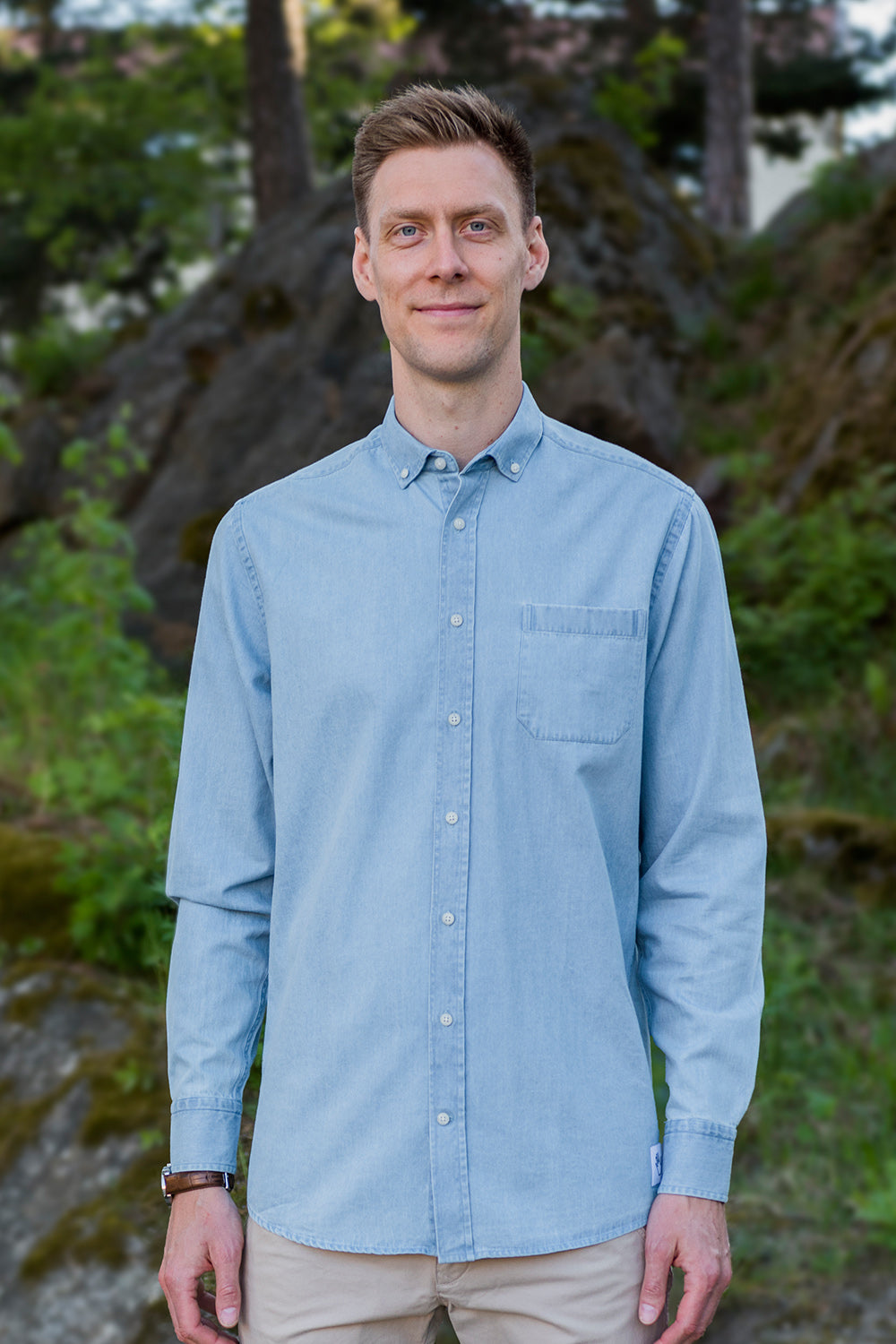 Long Light Blue Denim Shirt