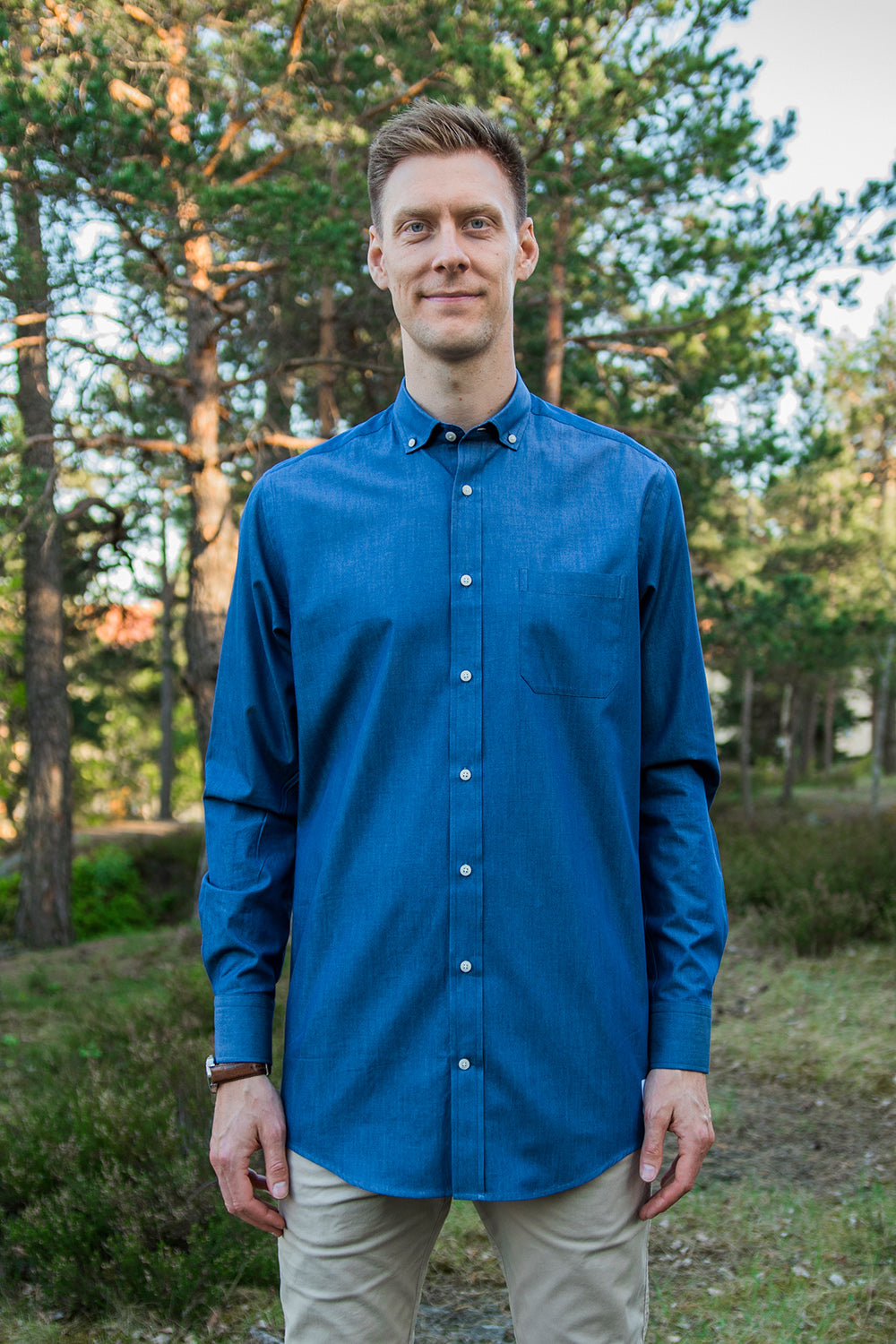 Long Blue Denim-look Shirt