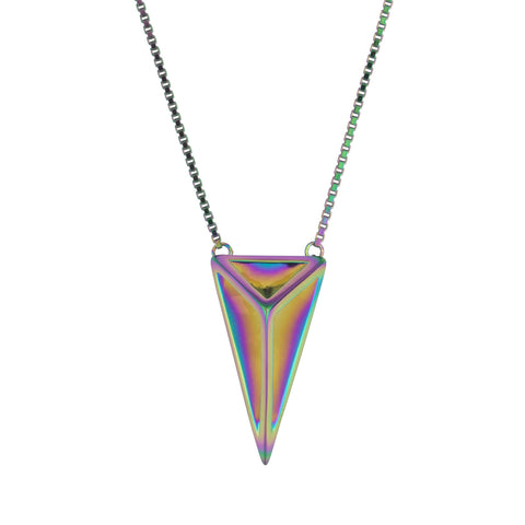 Iridescent Sterling Silver Cut Away Pyramid Necklace