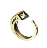 Yellow gold with black diamonds and black rhodium