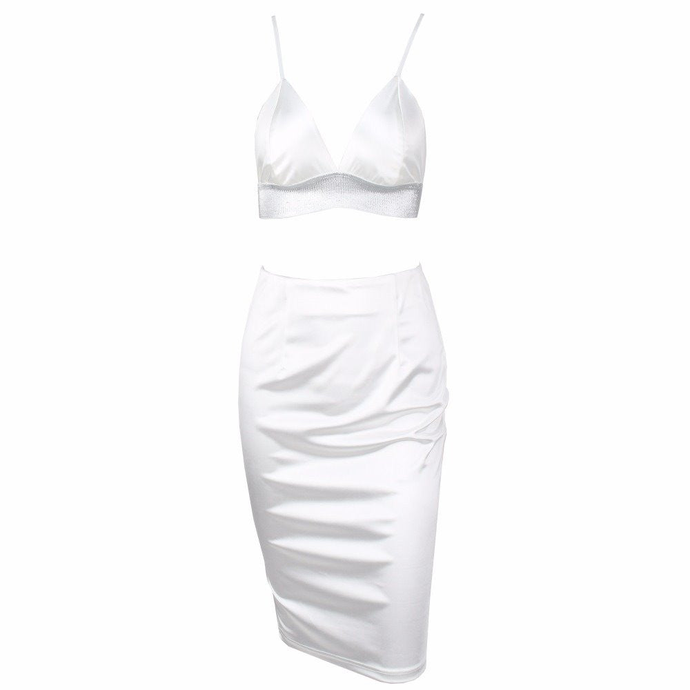 Rhinestone Bralet Satin Skirt Set Two Piece Dress White